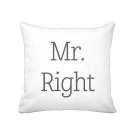 """Kissenhülle """"Mr. Right"""", weiß, Krasilnikoff"""