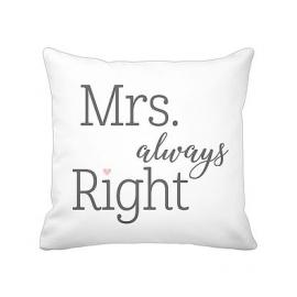 "Kissenhülle ""Mrs. Always Right"", weiß/cushion cover ""MRS. ALWAYS RIGHT"", white, Krasilnikoff"
