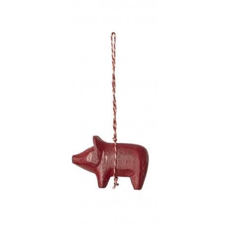 Holzschweinchen Verzierung, rot, Maileg