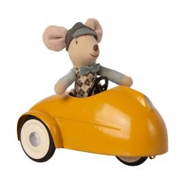 Maus mit  gelbem Auto + Garage /Mouse car w. garage, Maileg