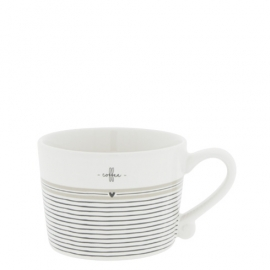 Tasse, klein/cup, white, stripes, Bastion Collections