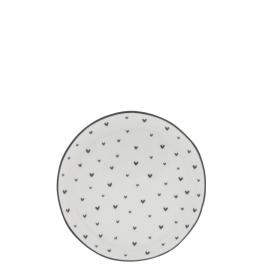 Kuchenteller 16cm Weiß / Herzchen in grau, Bastion Collektions